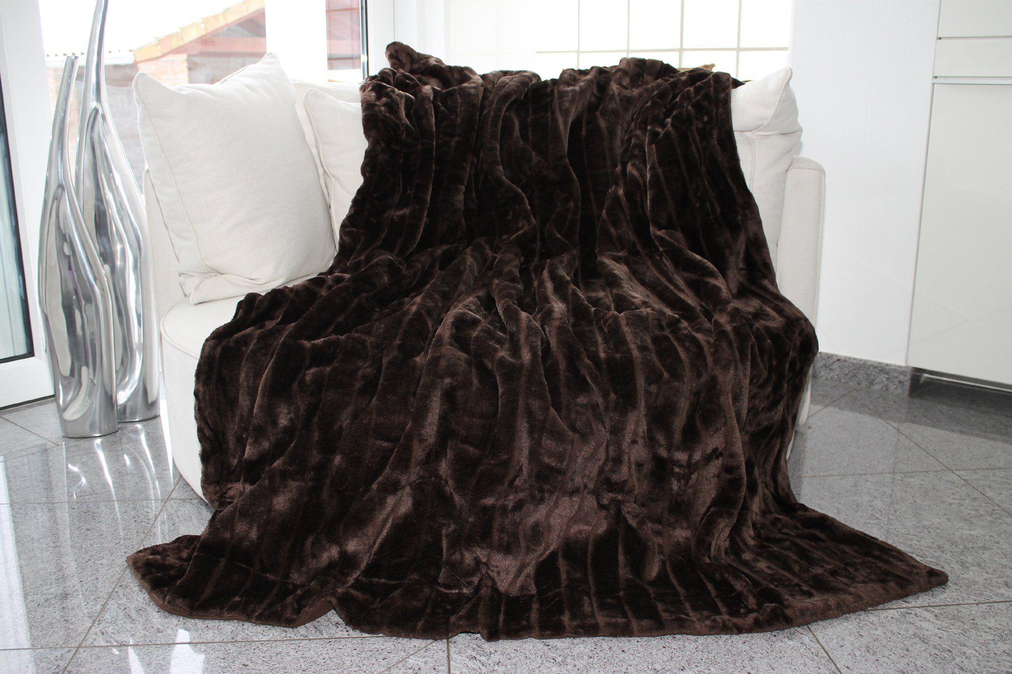 Felldecke Braun Hochwertige Kuscheldecke Decke Wohndecke