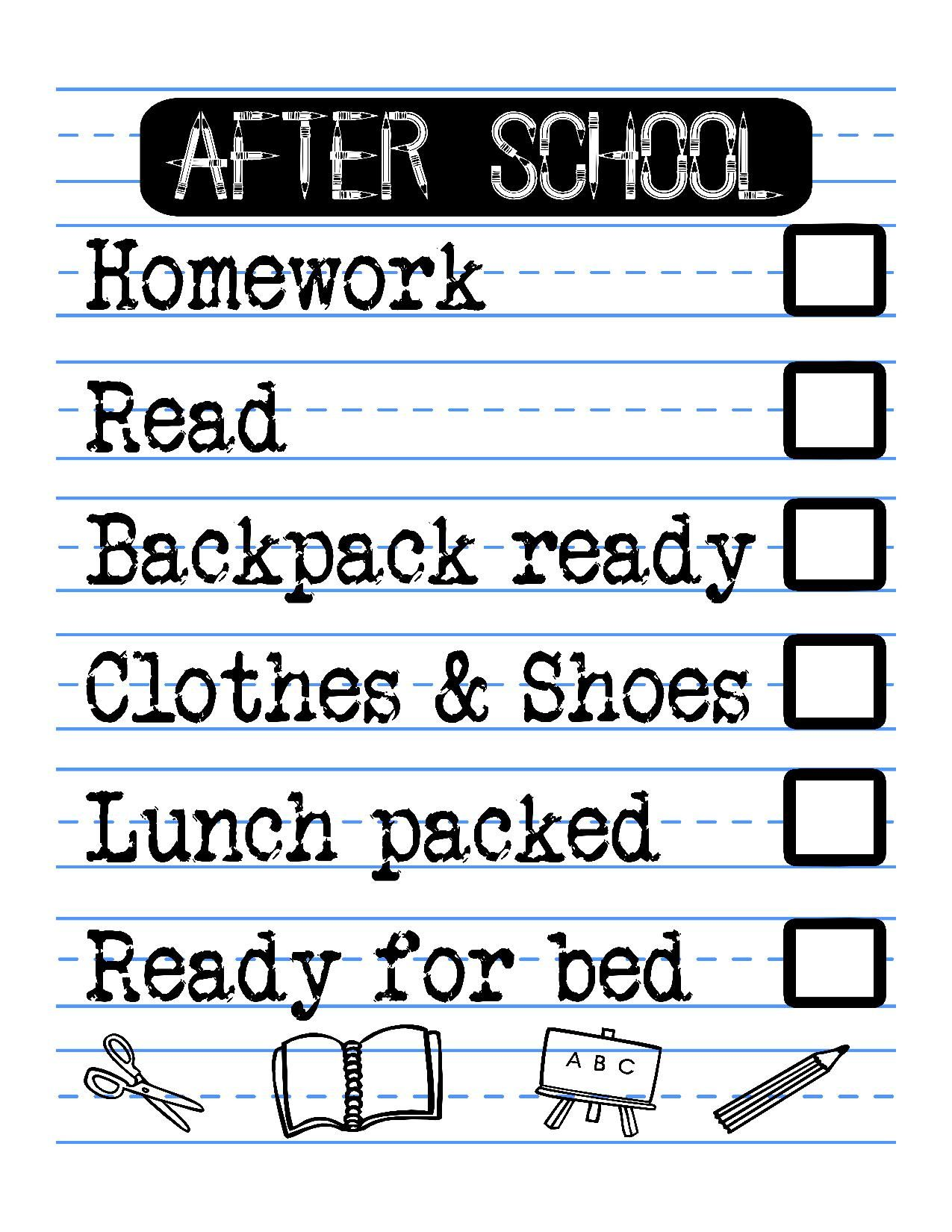 Free Printable After School Checklist For Kids