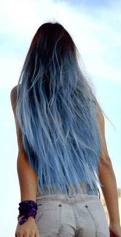 Ombre Blue Dip Dye Black Hair Dip Dye Hair Dipped Hair