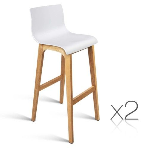 Gentil 2x Oak Wood Bar Stools W/ High Seat Back Wooden Chair Kitchen Dining White  3608