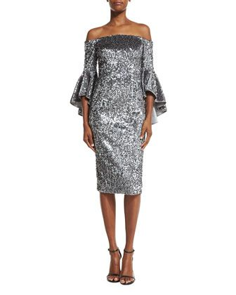 Off-the-Shoulder+Sequined+Cocktail+Dress,+Gunmetal+by+Milly+at+Bergdorf+Goodman.