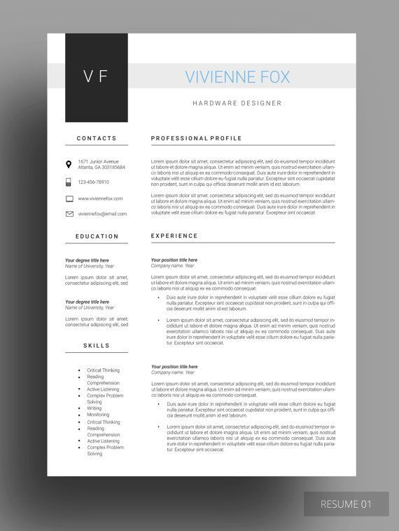 Winning #Resume #Template Free Cover Letter #Resume Design - clean resume template