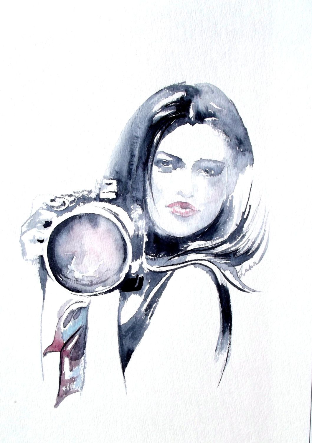 Fashion Photography Original Illustration Camera Watercolor