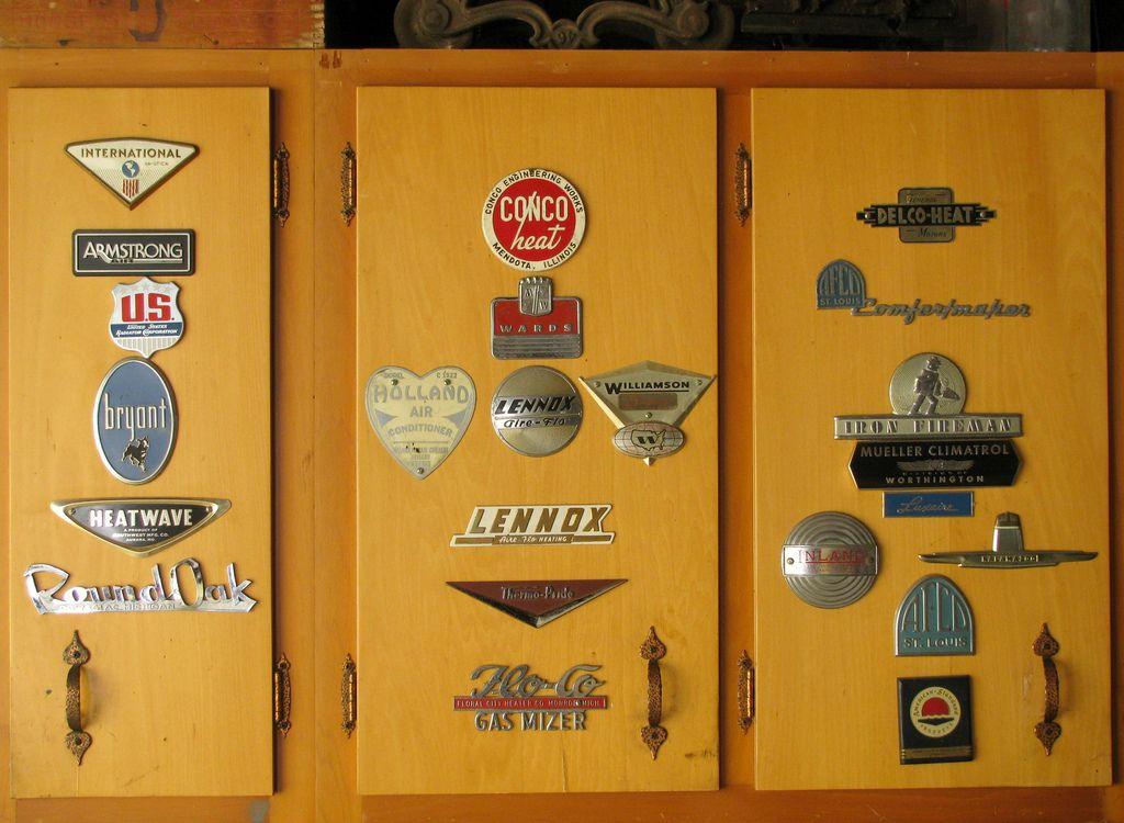 Old Furnace Logo Plates Vintage Hvac Locker Storage Vintage Og Plumbing