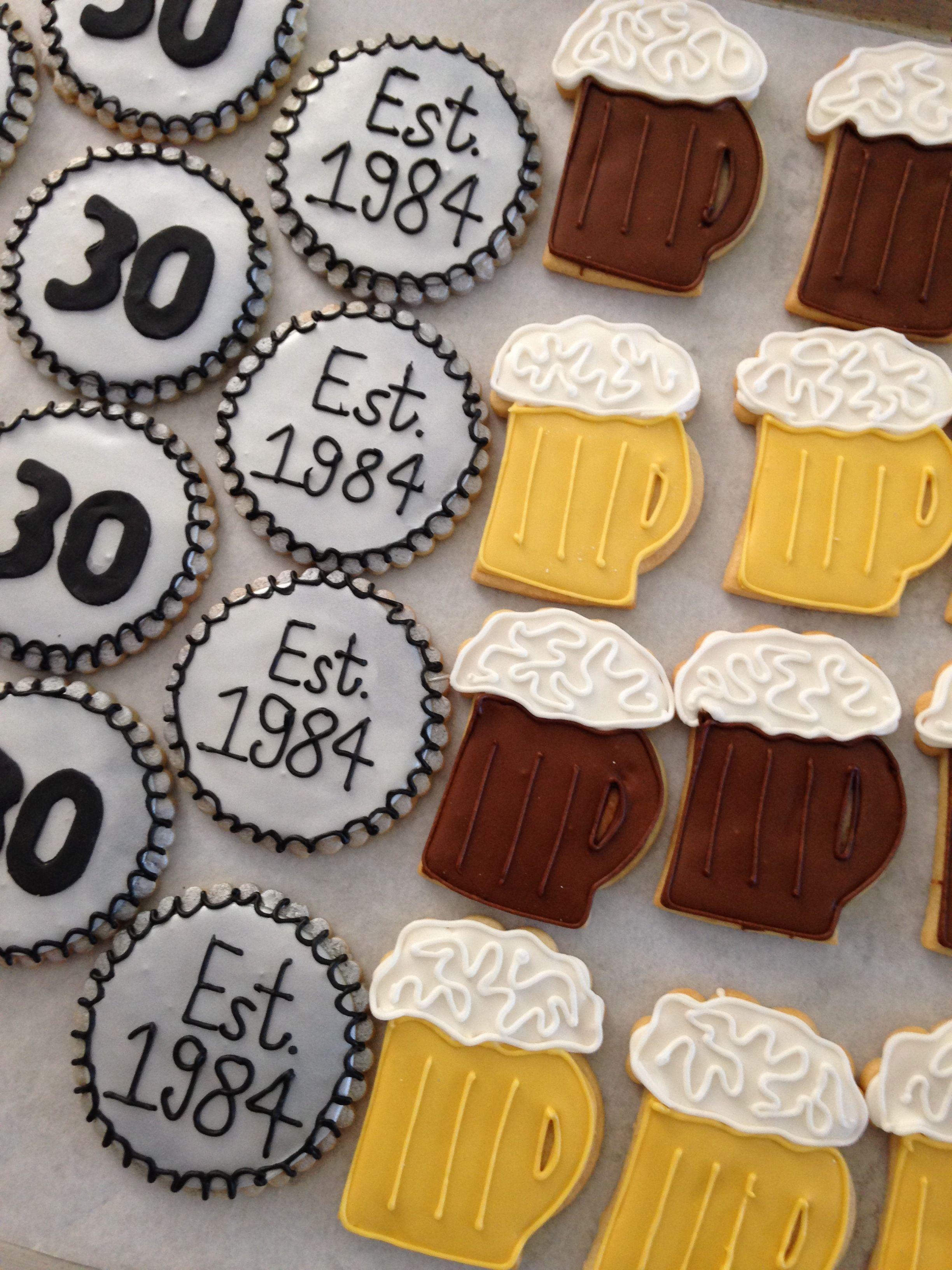 Beer mug and bottle cap cookies birthday in 2019 - Geburtstagsideen zum 90 ...
