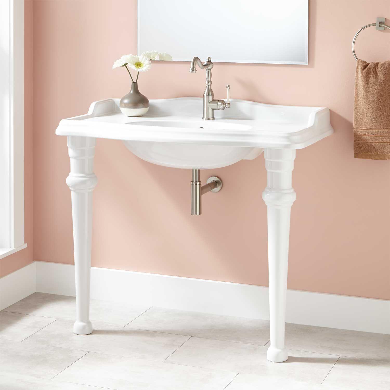42 Peloso Porcelain Console Sink Sinks Bathroom