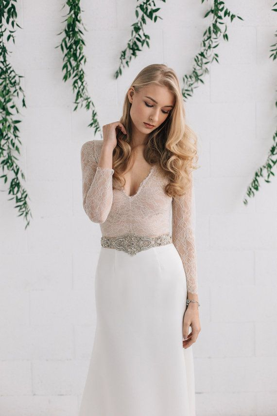 Bridal bodysuit long sleeve lace top bridal by for Wedding dress bodysuit and skirt