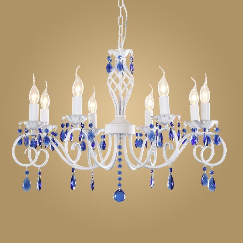 Modern Crystal Chandelier For Kitchen Bedroom Hanging Mediterranean White Blue Blc9008 In Chandeliers