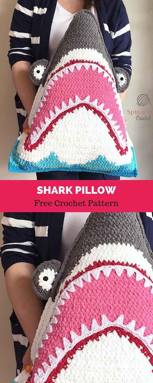 Shark Pillow [ FREE CROCHET PATTERN | pillows | Pinterest ...
