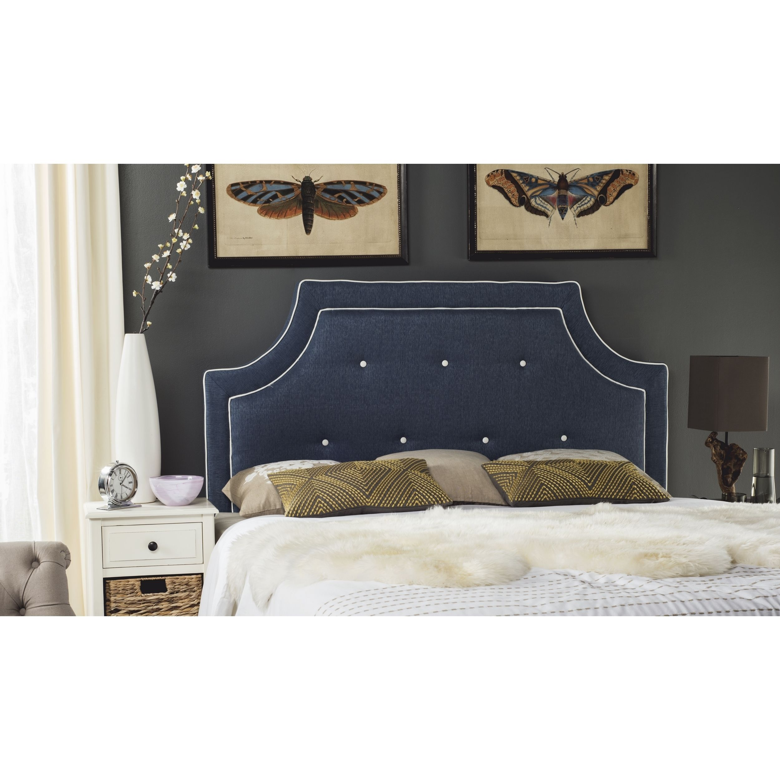 Safavieh Tallulah Denim Blue and White Piping Upholstered Arched Headboard  (Queen) (MCR4045D-Q), Black