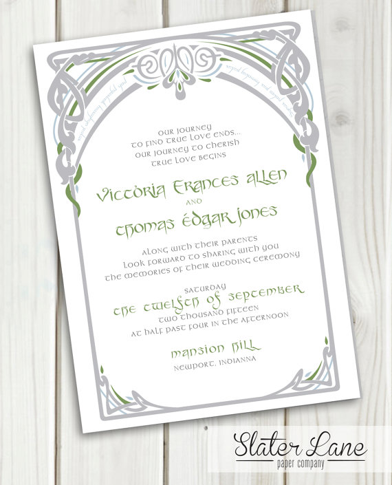 Lord Of The Rings Wedding Invitation Middle Earth Elvish Vines By Slaterlanepaperco On Etsy