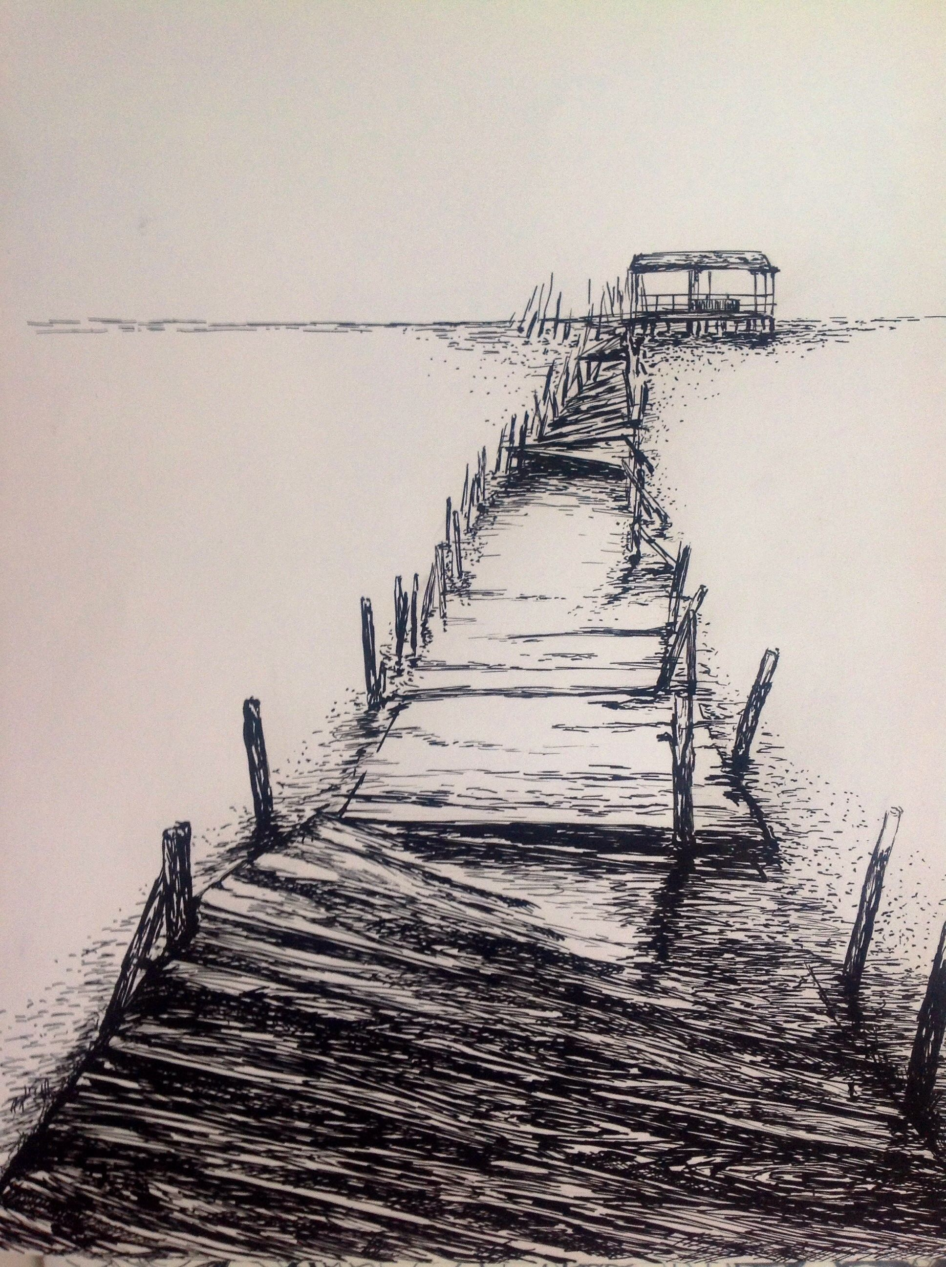 Dibujo En Tinta China Con Plumin Tamano A3 Landscape Drawings Cool Drawings Ink Illustrations