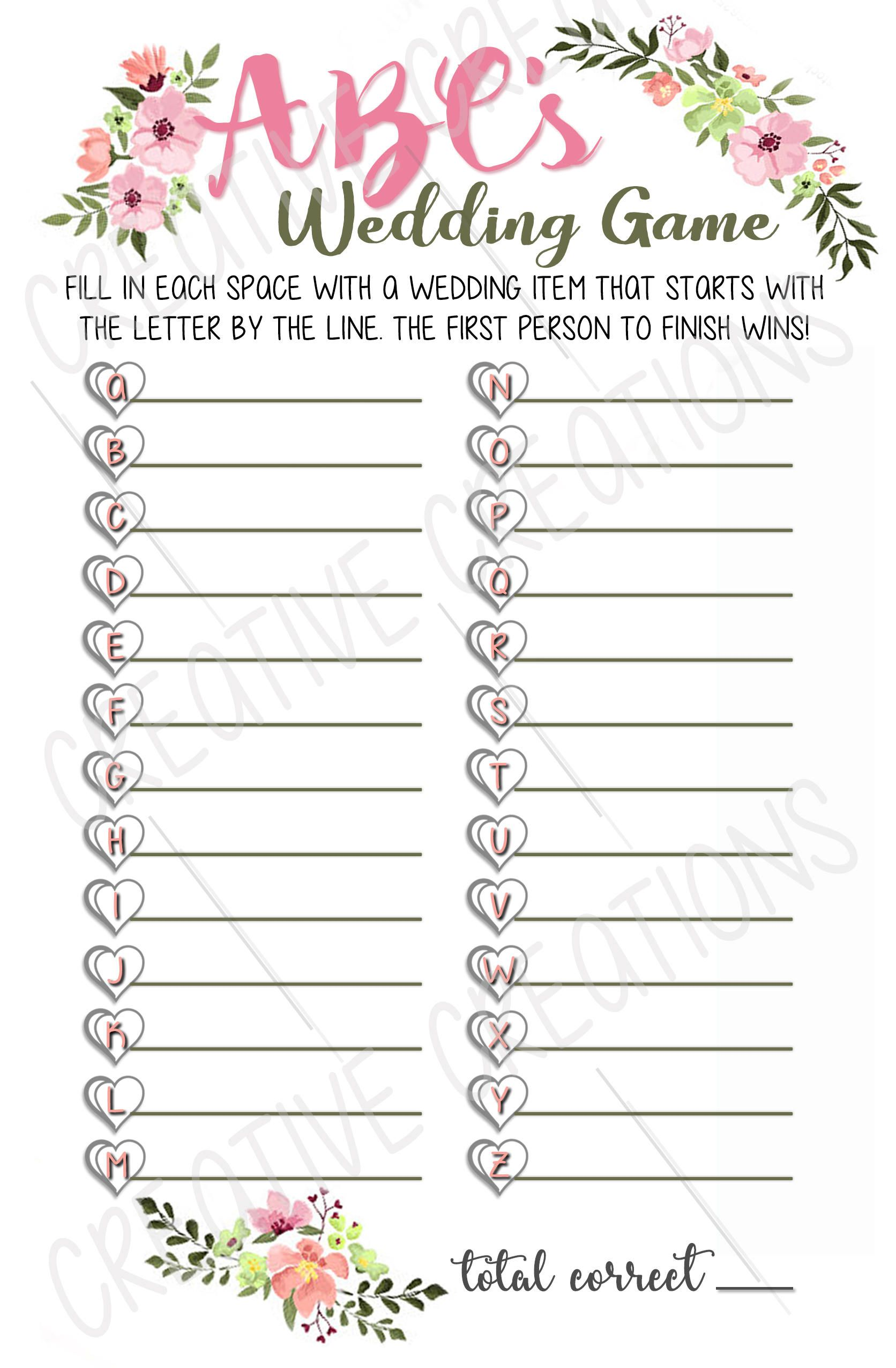 Bridal Shower Game Abcs Bridal Shower Game Printable Template