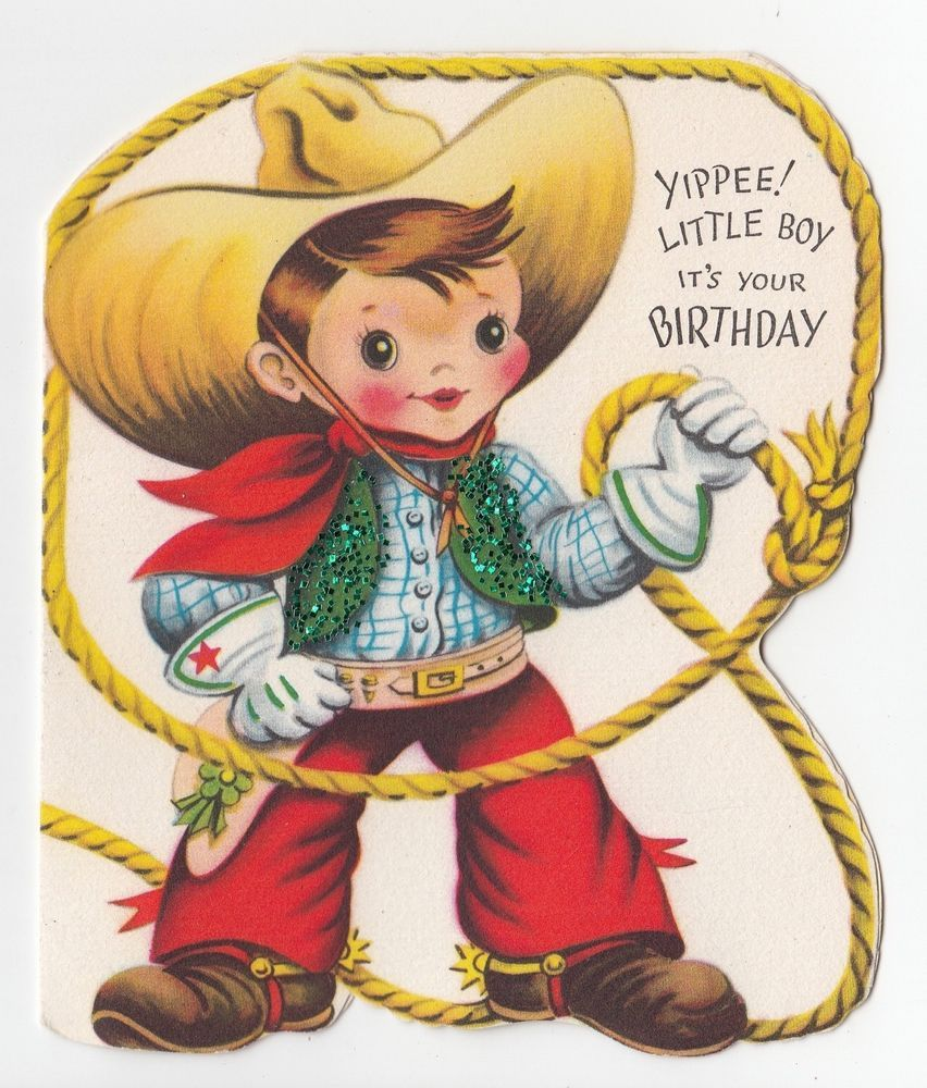 Vintage Greeting Card Cute Little Boy Cowboy Lasso Glitter