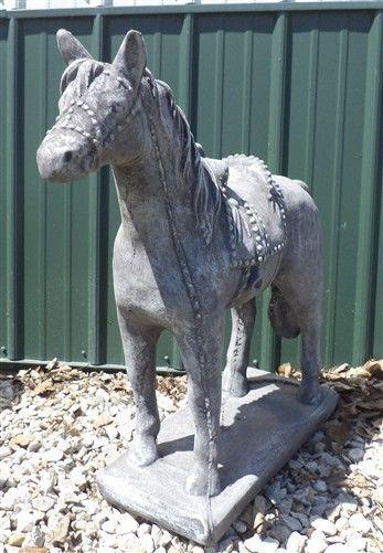 Concrete Yard Ornament Garden Lawn Decoration Horse Saddle Western Cowboy Art A