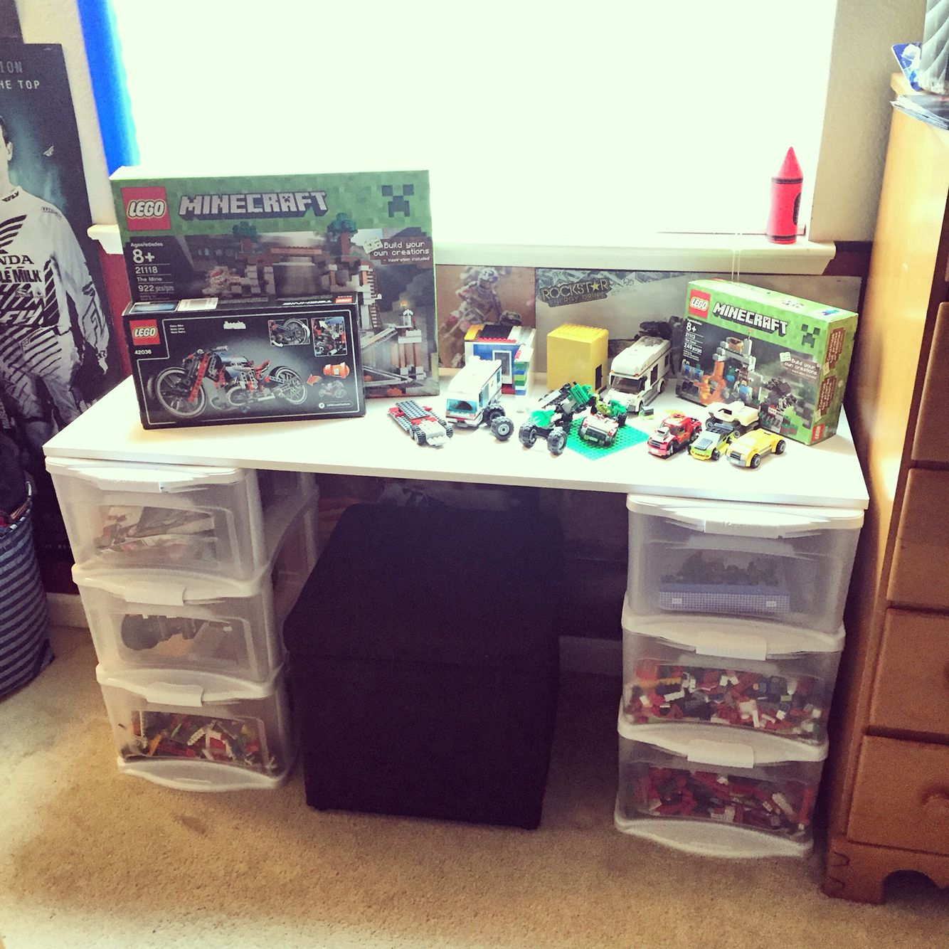 Lego Desk Table Diy Cost About 40 All You Need Is 2 Plastic Storage Drawer Bins And A Laminate