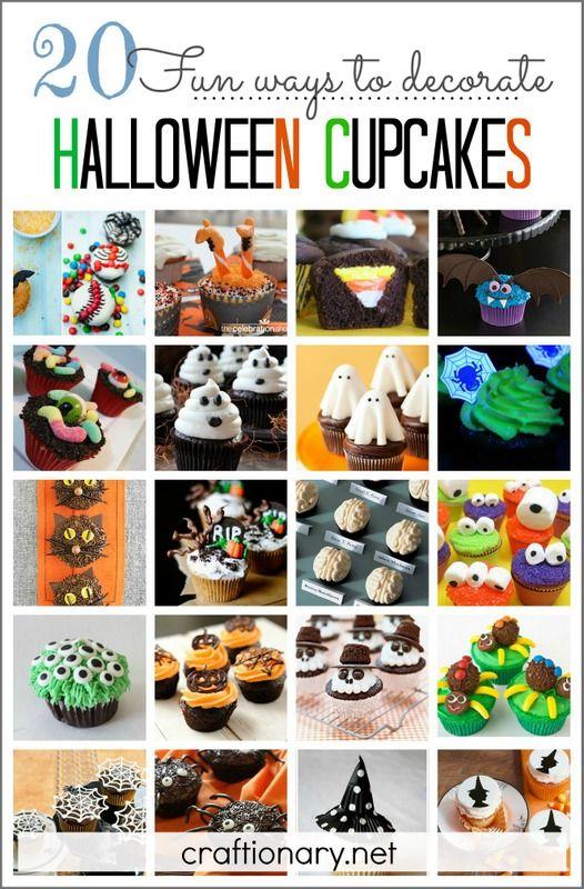 20 Halloween Cupcakes (Fun ways to decorate Decorating, Decorated