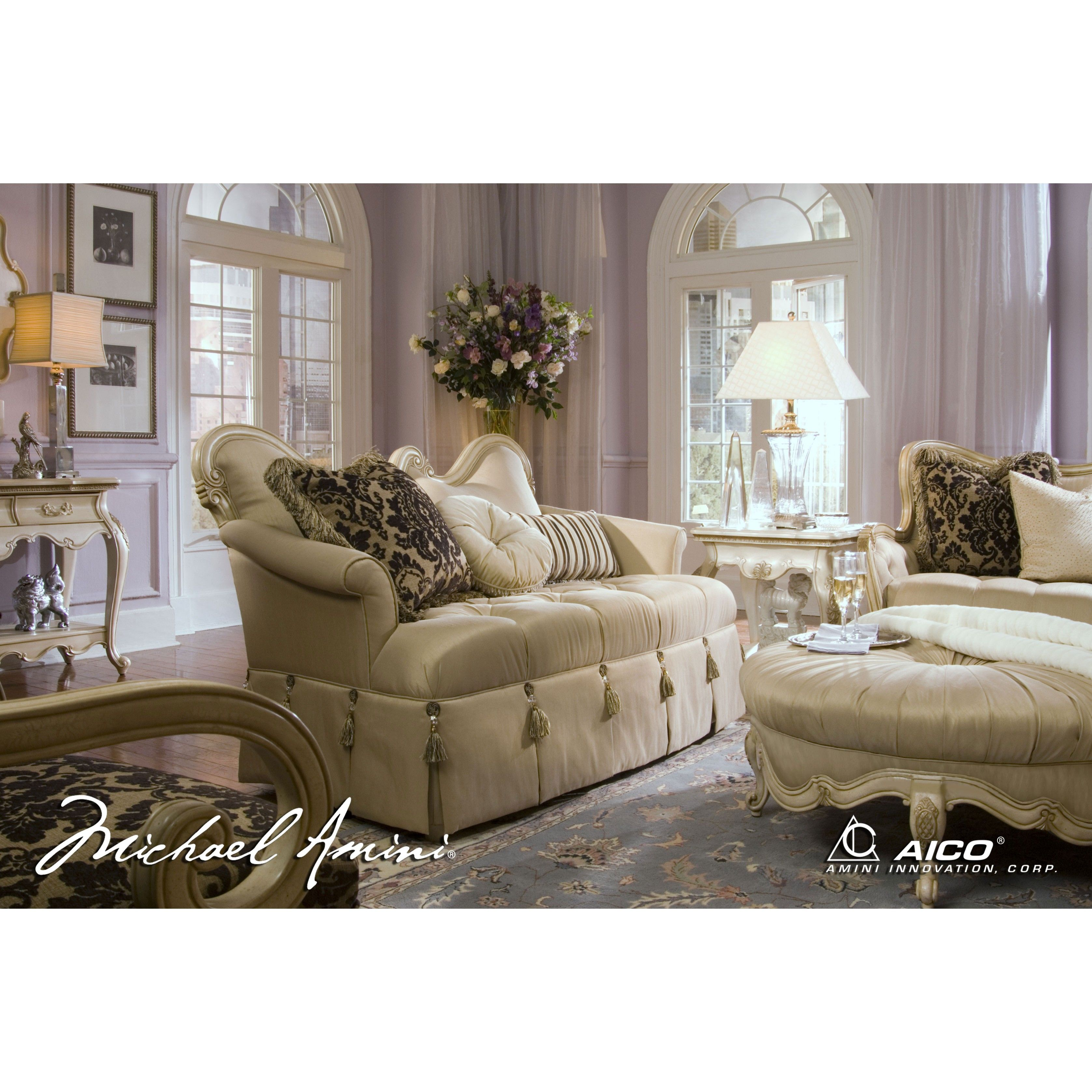 Michael Amini Lavelle Blanc Wood Trim Settee Loveseat By Aico For