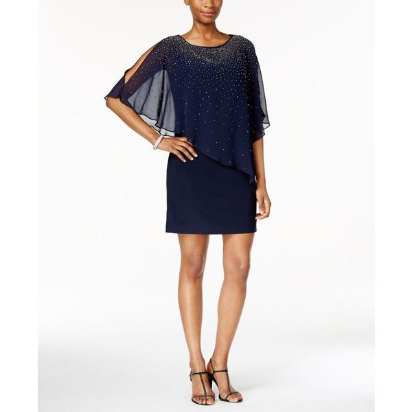 Xscape Beaded Cape Overlay Dress ($179) ❤ liked on Polyvore featuring dresses, sheer beaded cocktail dress, xscape dresses, beaded cocktail dress, white dress and see through dress