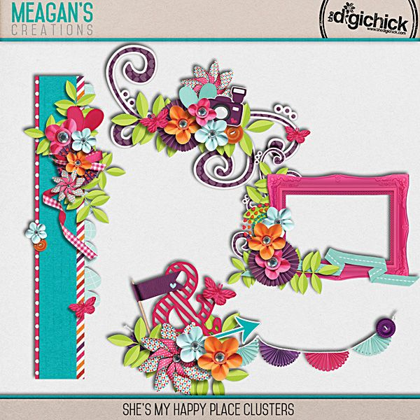 She's My Happy Place Clusters Pack by Meagan's Creations