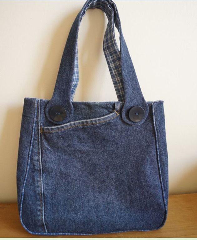 c631884ac Bolsa de jeans e um modelo bem bonito | Arte com Tecidos | Bolsos y ...