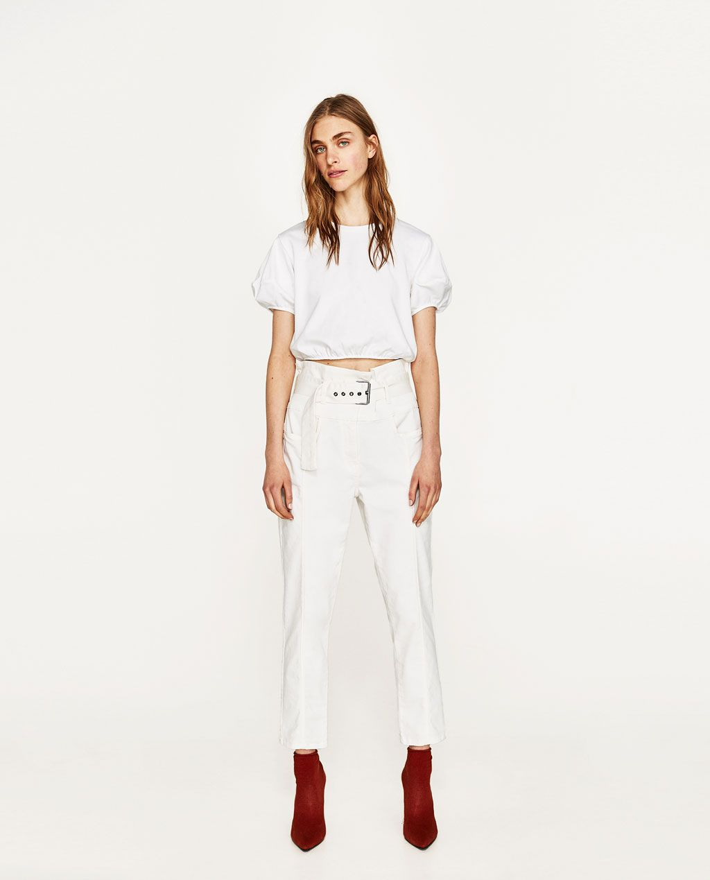 3993307d Image 1 of HIGH RISE TROUSERS WITH BELT from Zara   fashion ...