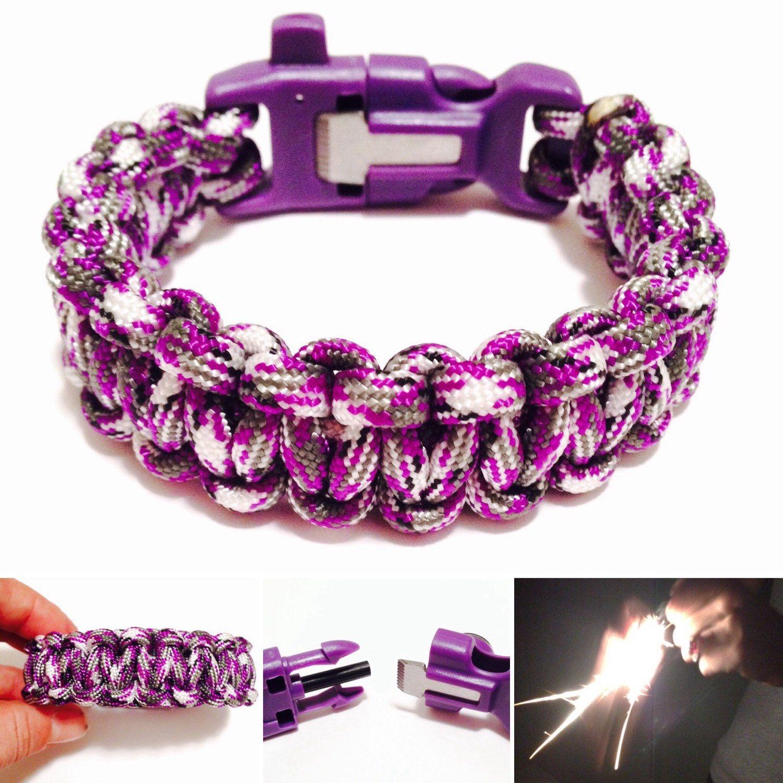 Purple Camo Survival Bracelet  Womens Purple Camo Paracord Bracelet   Flint And Striker, Signal
