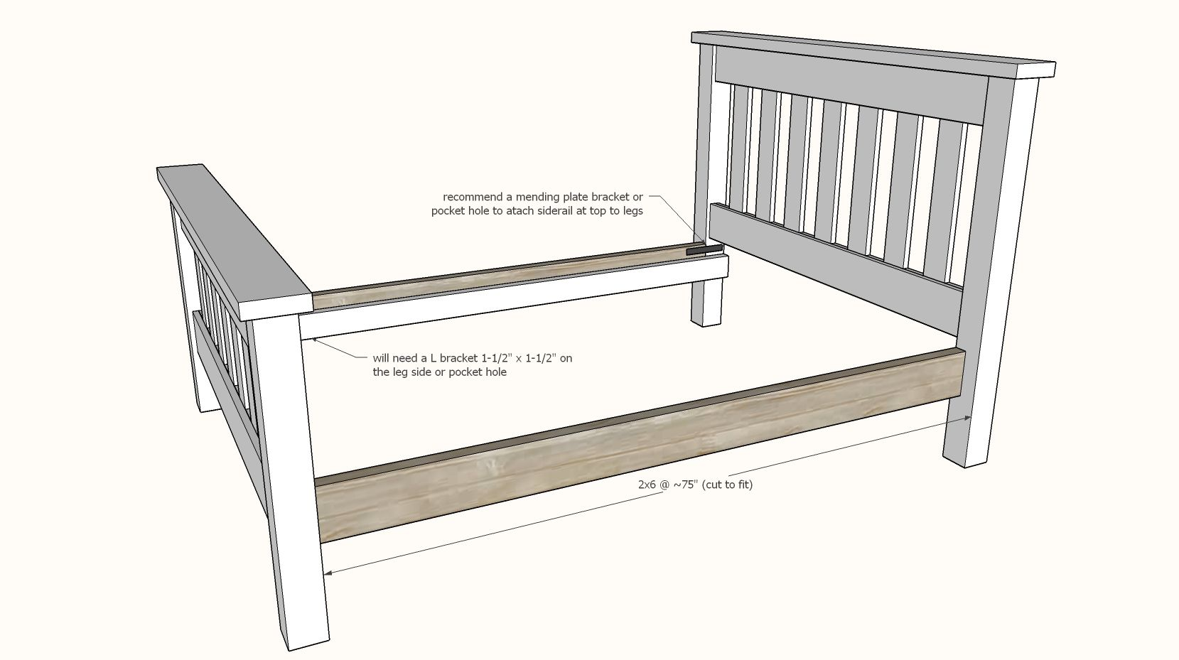 Simple Bed [Full Size Bed Frame] Simple bed, Wood screws