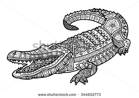 Zentangle Crocodile Coloring Page Vector Illustration Of Cute