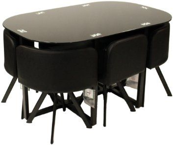 Charles Jacobs Dining Table With Six Chairs Set In Black Round