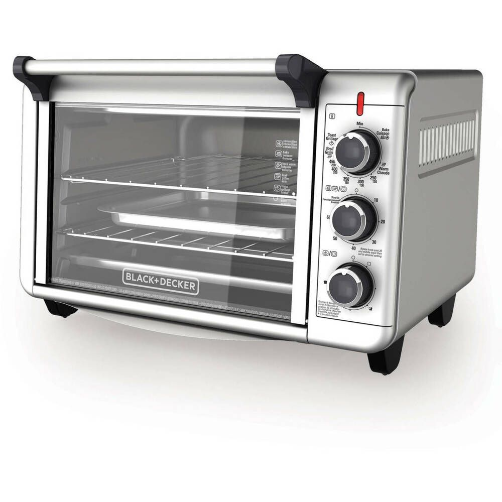 Black Decker Convection Countertop Oven Stainless Steel 3 Rack