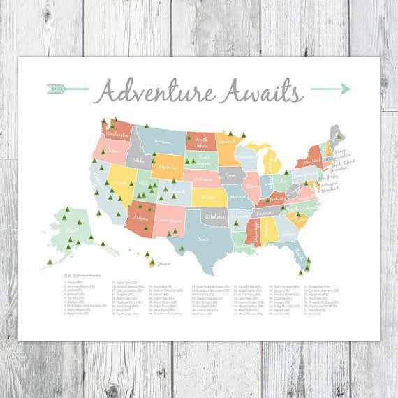 Adventure Awaits Us National Park Map Nursery Kids Print Etsy Map Nursery Us National Parks Map National Parks Map
