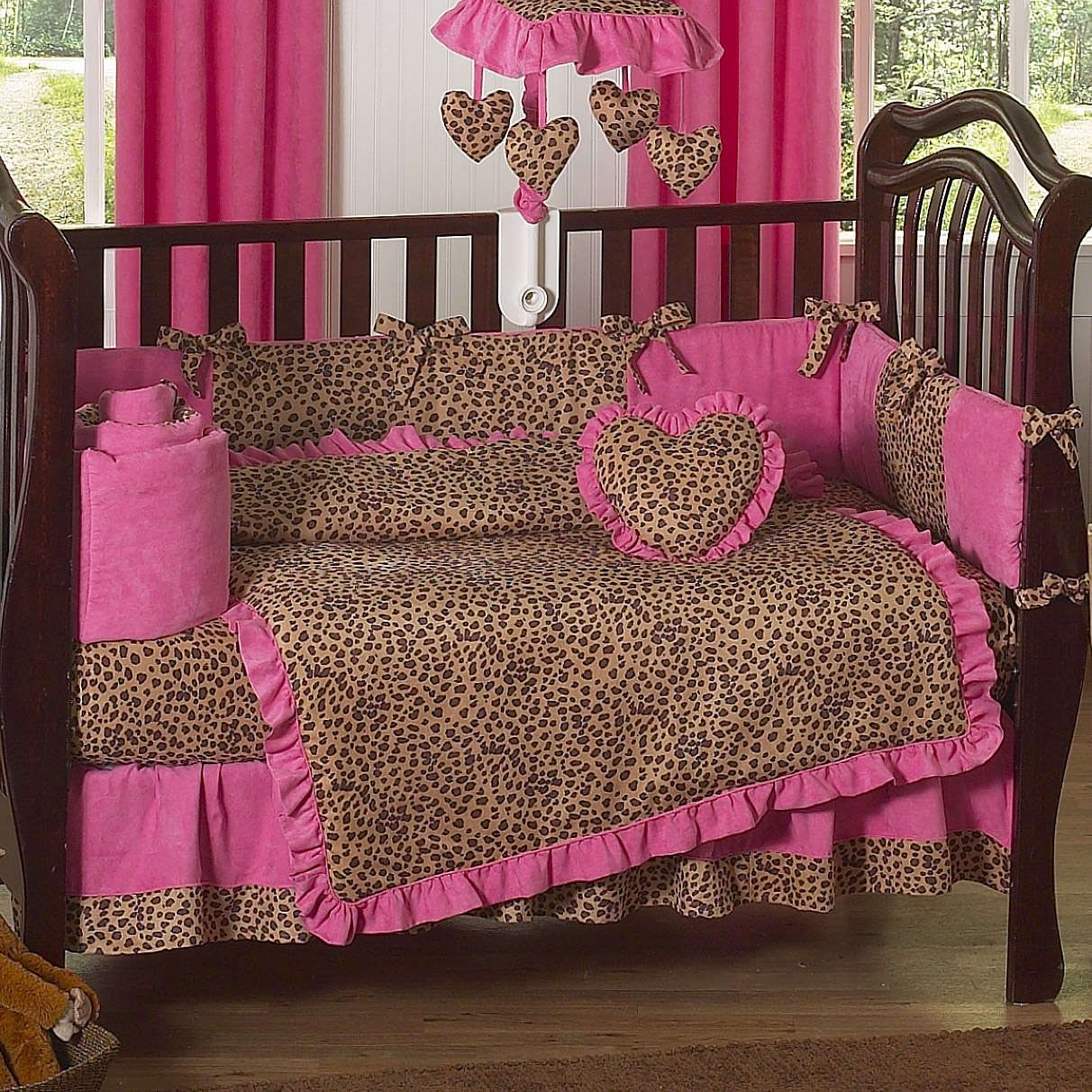 Leopard Baby Shower Cakes Cheetah Hot Pink And Leopard Print 9 Piece Crib Bedding Set