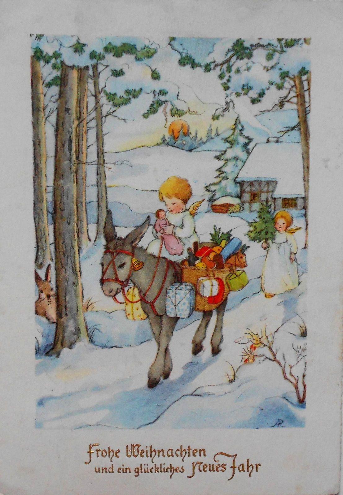 ANITA RAHLWES - 2 ENGEL auf Eselchen bepackt mit Geschenken, Hase schaut - 1954 | eBay