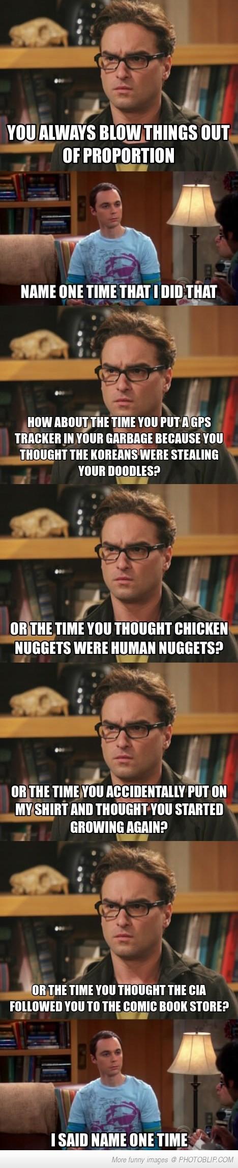 Just Sheldon Overreacting