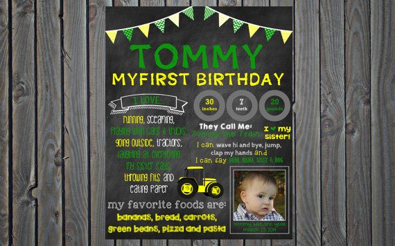 custom printable yellow tractor or green tractor theme birthday