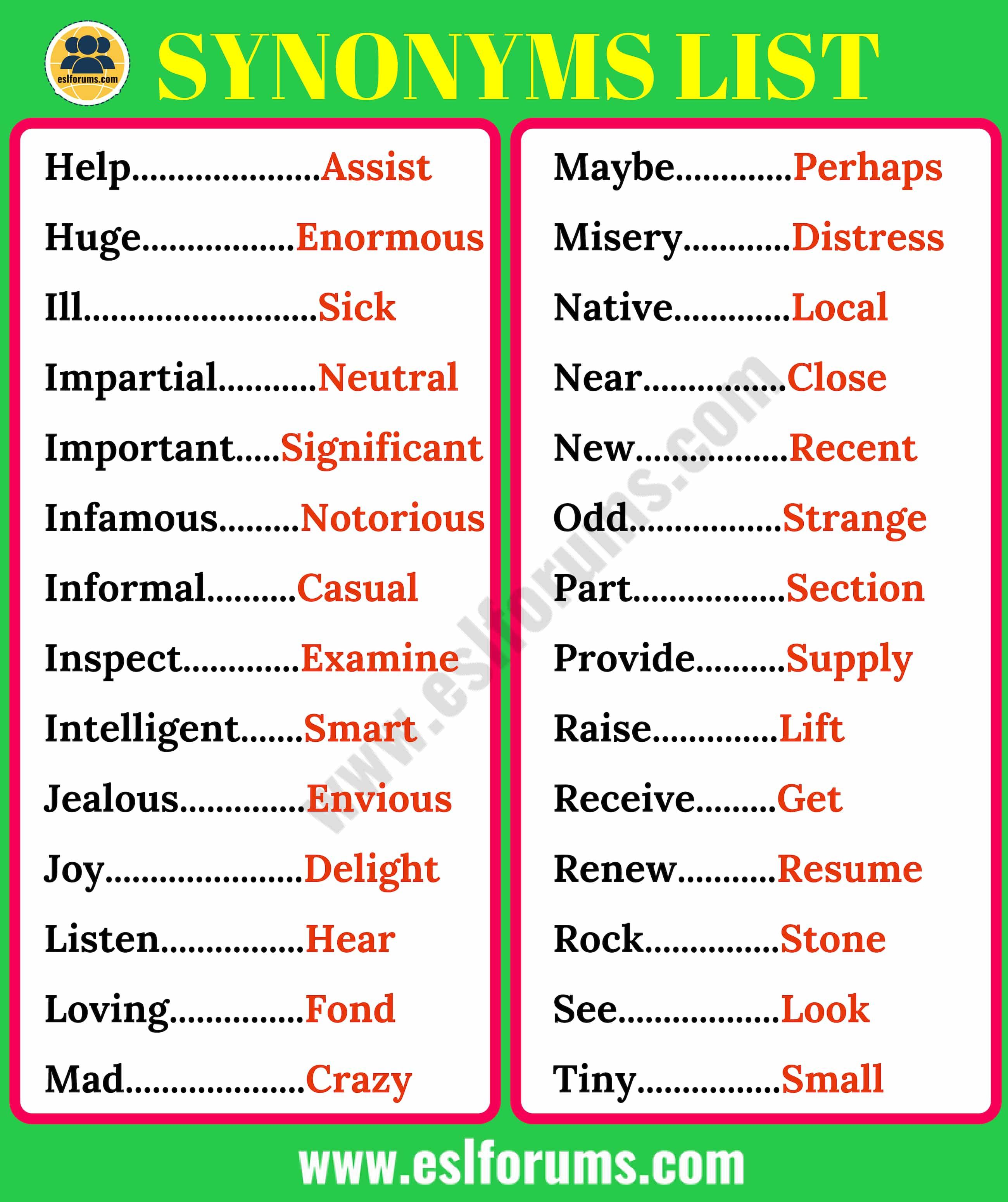 Synonyms List Of 200 Synonyms In English For Esl Learners