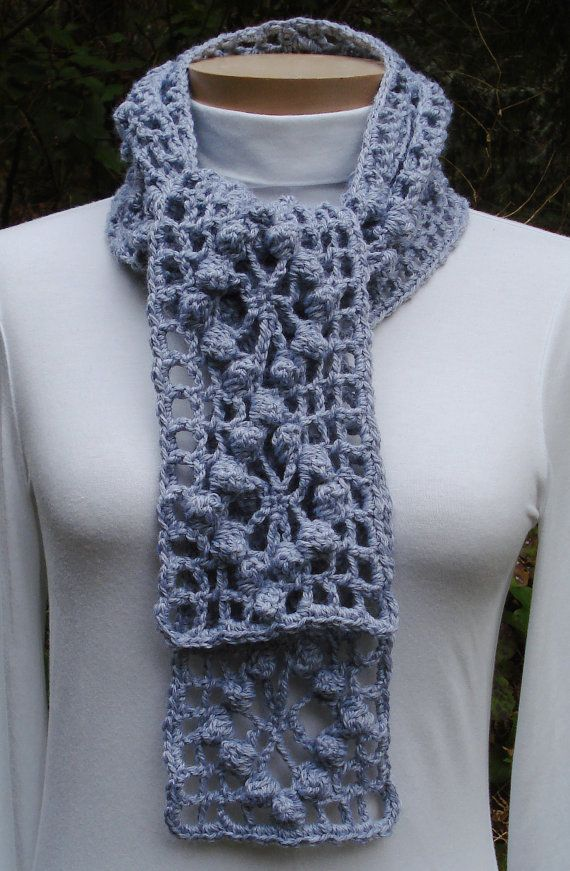 Popcorn Web Scarf Pa 304 A Crochet Pattern From Nancy Brown