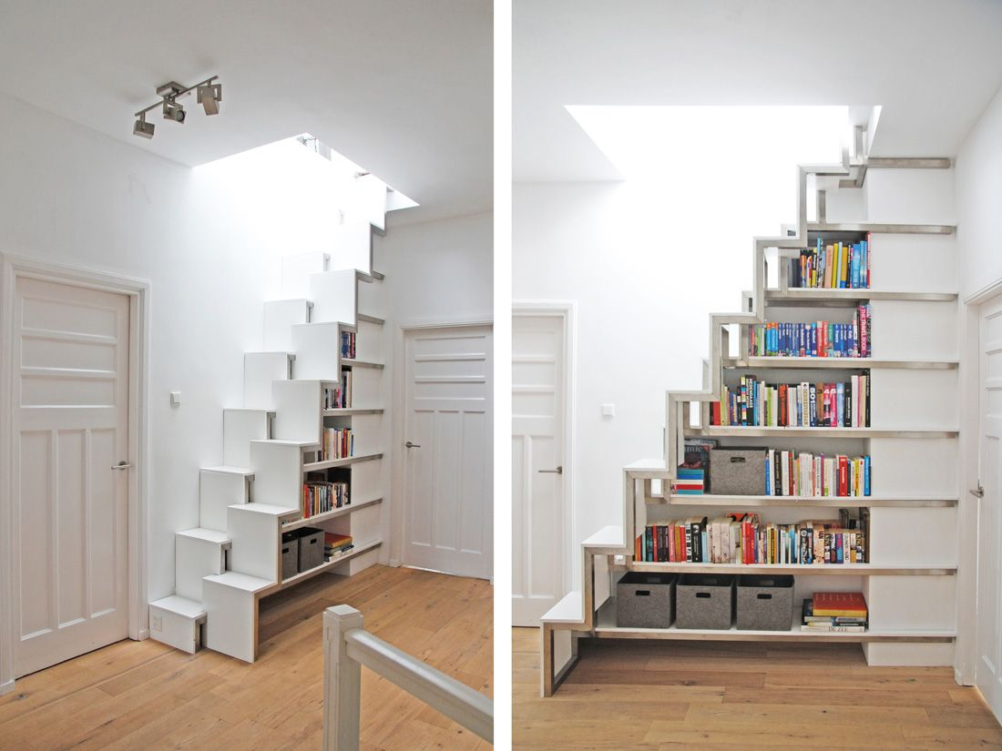 Een roestvrij stalen trap die gelijk zou fungeren als boekenkast ...