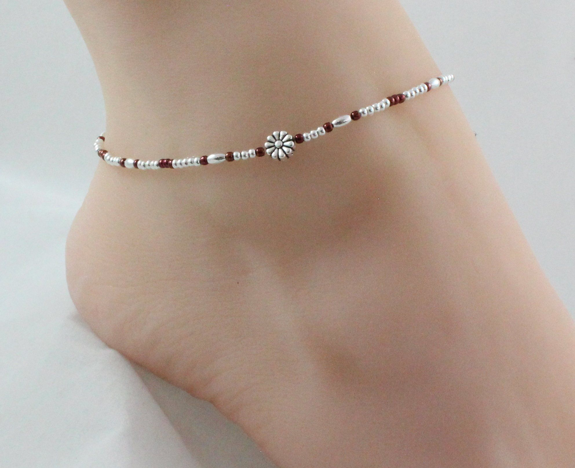NEW Blue silver charm and bead adjustable anklet summer fashion sea beach