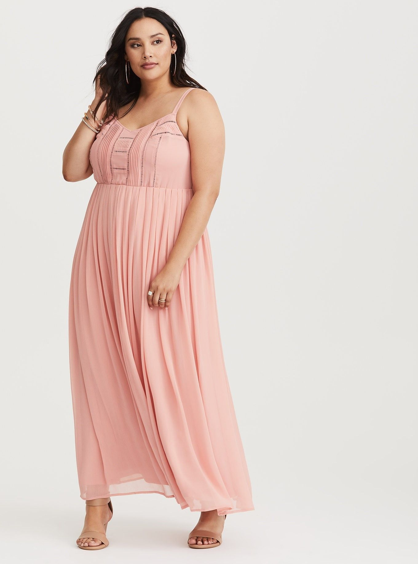 7562e55216a Blush Pleat   Eyelet Chiffon Maxi Dress - Ethereal chiffon makes up a  flowing maxi dress that showcases eyelet cutouts and precise pleating  details.