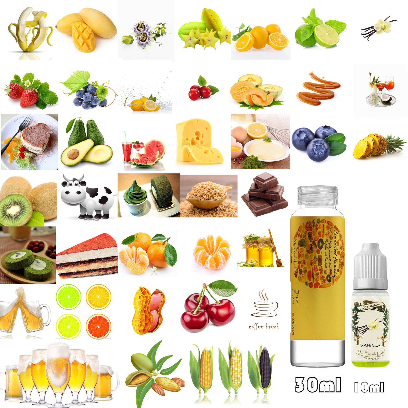 10ml&30ml Concentrated Liquid Food Flavourings 40+ Flavour Baking