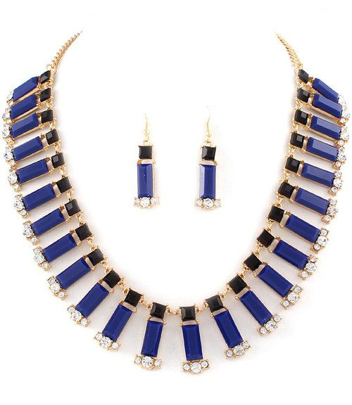 BLUE PIANO BAR NECKLACE EARRINGS SET - $22