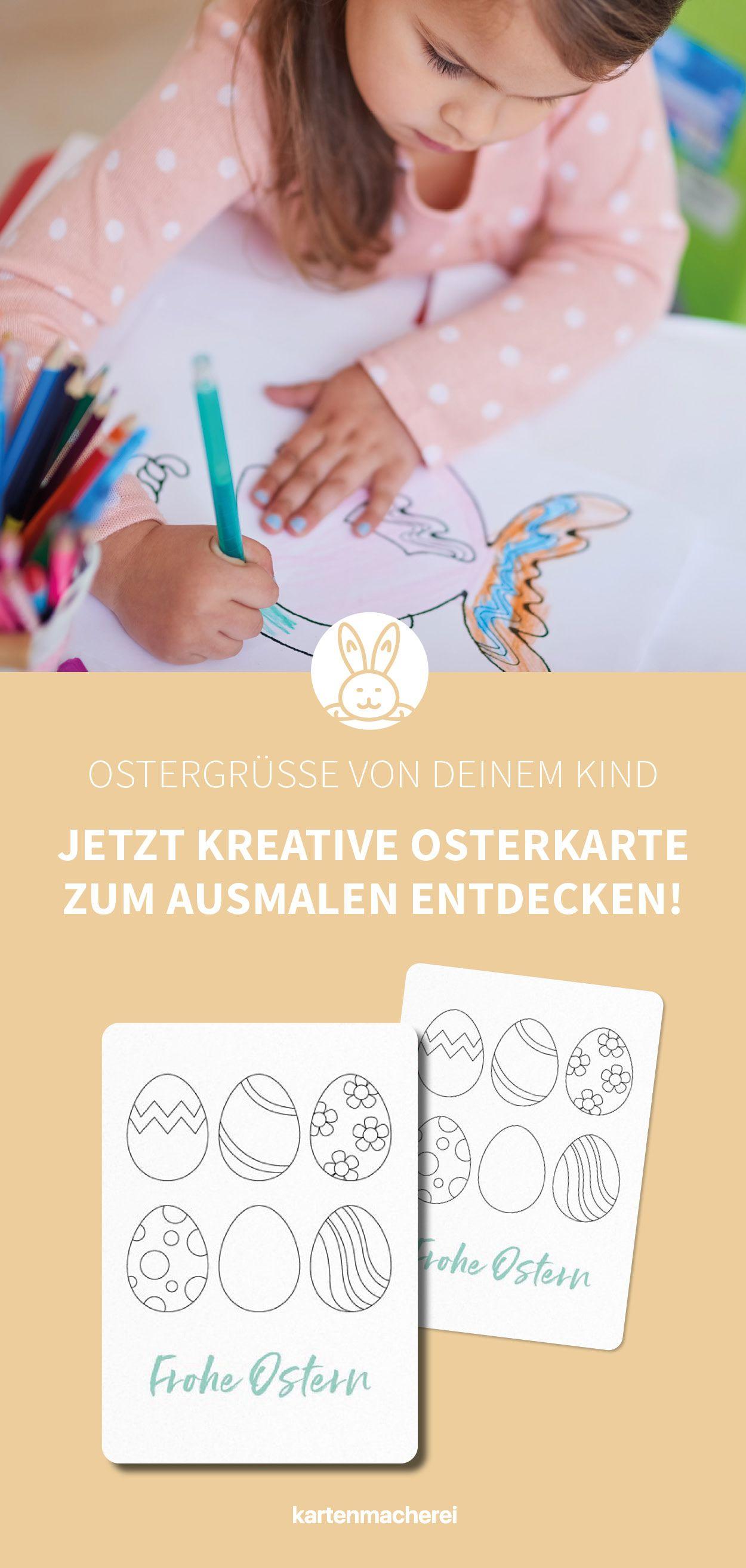 Osterkarte zum Ausmalen - so verschickt dein Kind die süßesten Ostergrüsse! #diygeburtstagsgeschenke