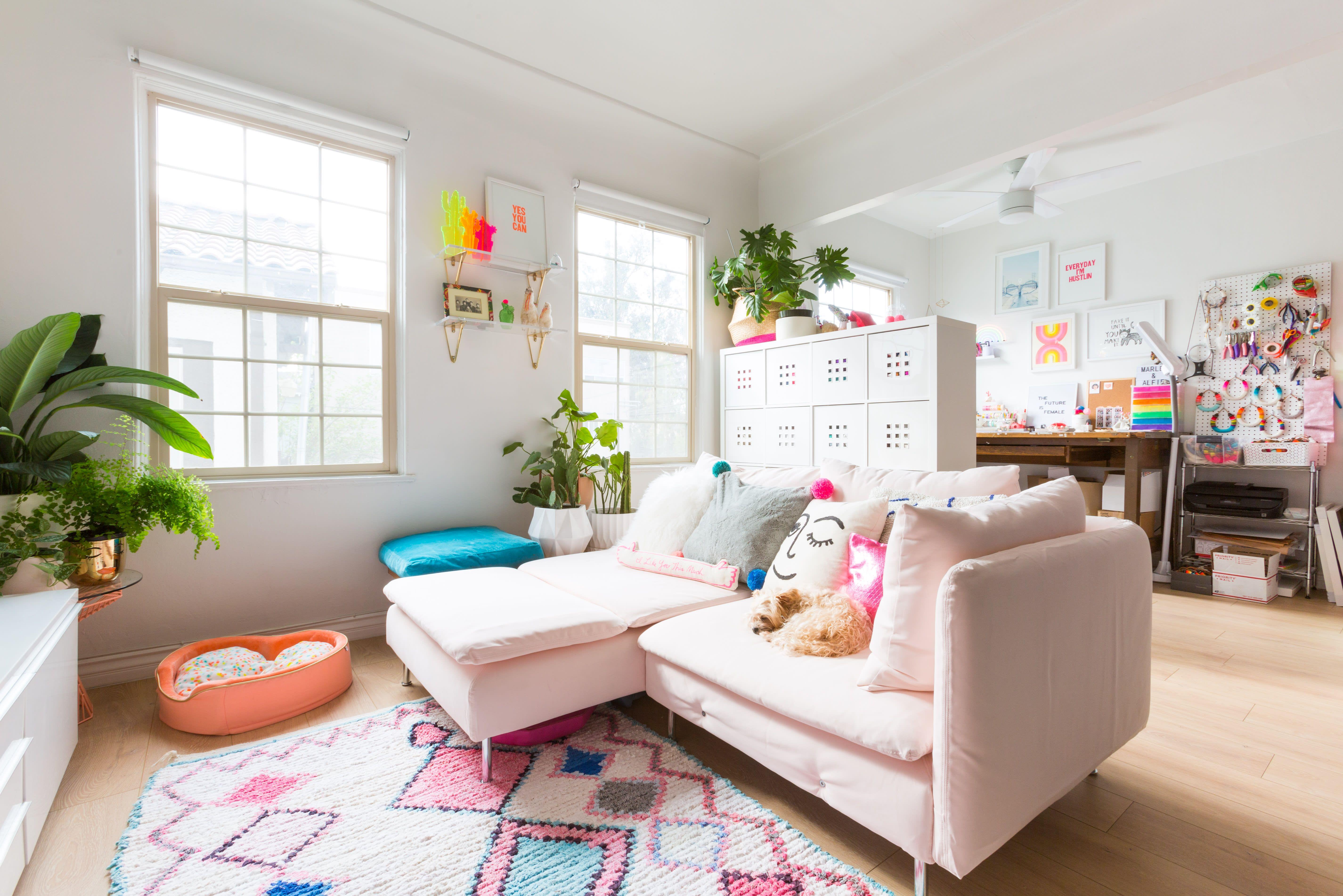 A Playful Rainbow Hued La Studio Apartment Is Tiny But Well Designed Studio Apartment Design Small Room Design Apartment Furniture