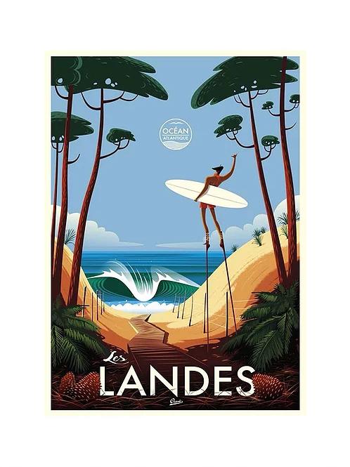 Clave Illustration Les Landes Vintage Beach Posters Illustration Retro Travel Poster