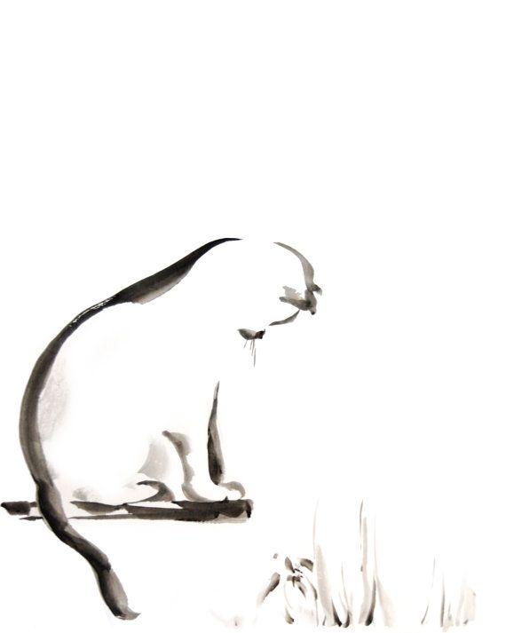 Chat minimaliste aquarelle peinture art print par for Art minimaliste musique