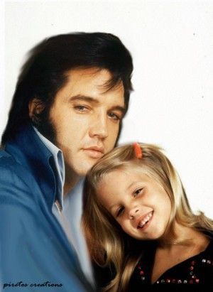 """piretos creations 'created photo'  of Elvis & Lisa Marie.  See the signature/designation lower left of photo.  .....internet commenter """"..a few years on, when most contemporary witnesses and hardcore affiniciados  will be gone, these fake images may even find their way into newspapers and books; will someone be able to tell the difference then?"""""""