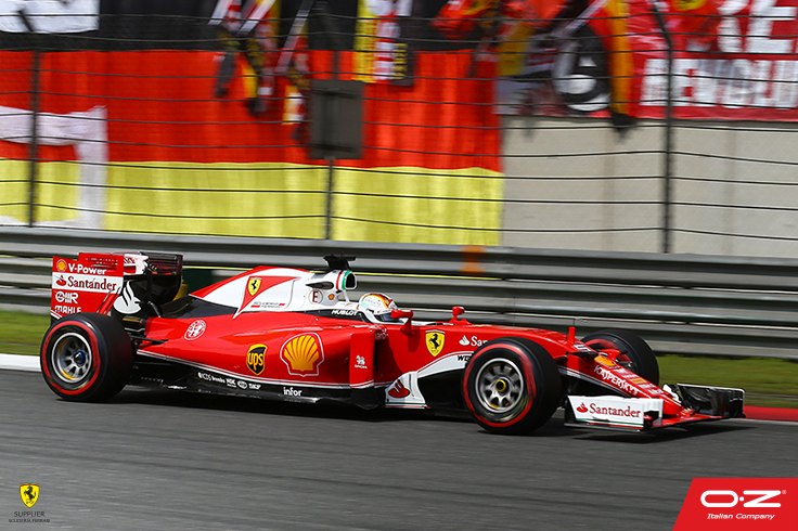 At #ChineseGP #Seb5, with the Scuderia Ferrari F1 SF16-H mounting our OZ Wheels, finished on the P2! Great race and great comeback, congratulations! #RedSeason #F1 #Formula1