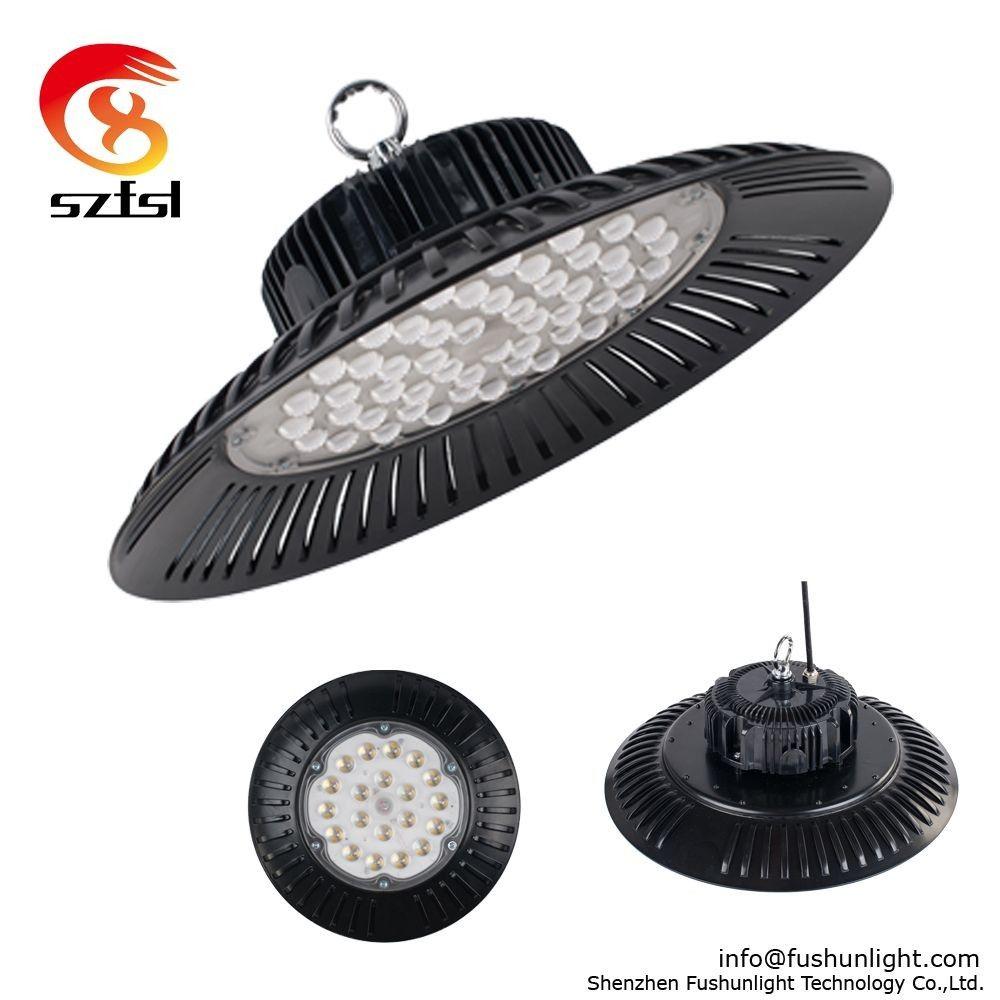 UL DLC 480Volt LED UFO high bay 150W warehouse grocery garage light 5000K 120°